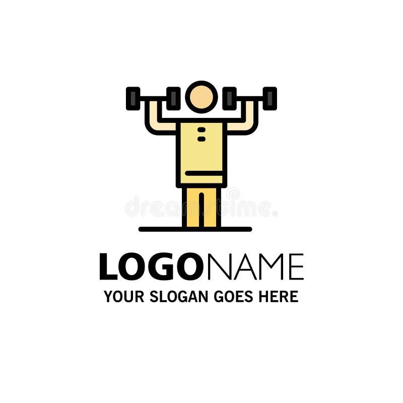 Attività, disciplina, umano, fisica, affare Logo Template di forza colore piano illustrazione vettoriale
