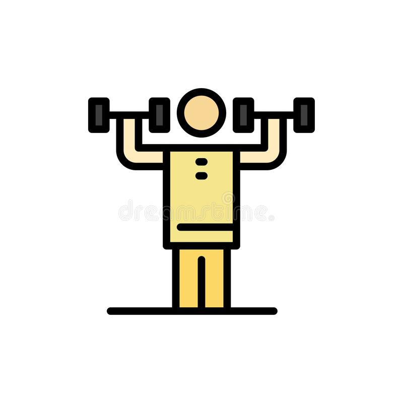 Attività, disciplina, umano, fisica, icona piana di colore di forza Modello dell'insegna dell'icona di vettore illustrazione di stock