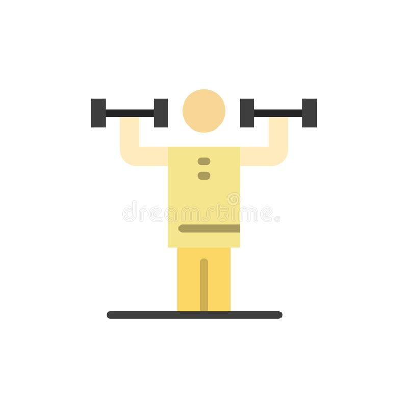 Attività, disciplina, umano, fisica, icona piana di colore di forza Modello dell'insegna dell'icona di vettore royalty illustrazione gratis
