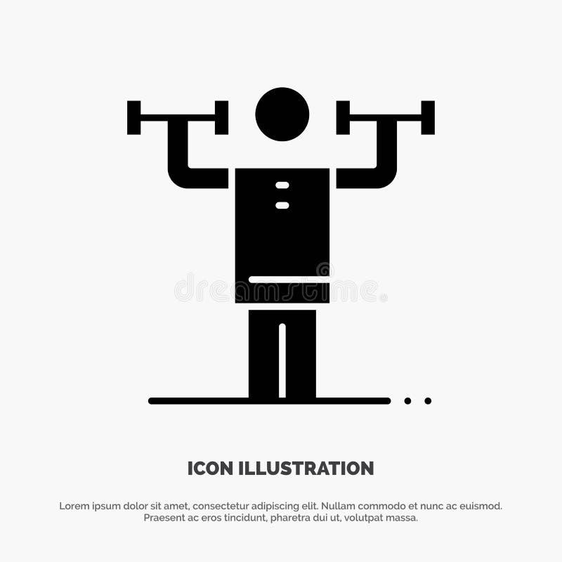 Attività, disciplina, umano, fisica, vettore solido dell'icona di glifo di forza illustrazione vettoriale