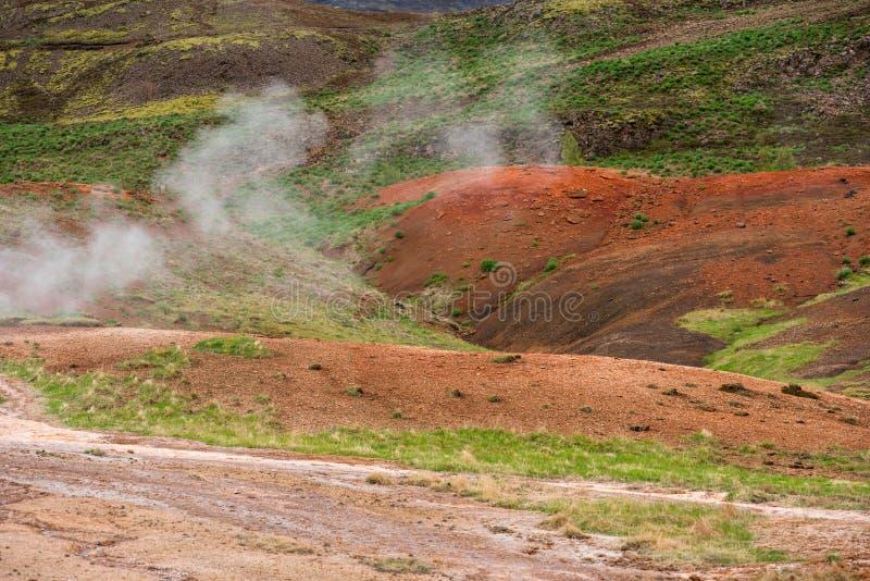 Attività geotermica in Hveragerdi, Islanda con le sorgenti di acqua calda fotografia stock libera da diritti