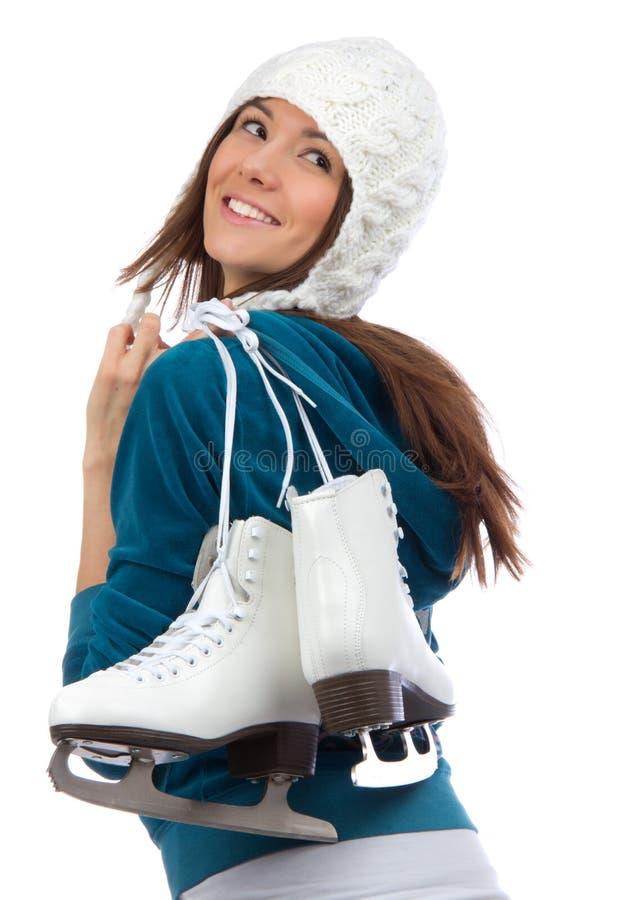 Attività graziosa di sport di inverno pattinare di ghiaccio della donna fotografia stock