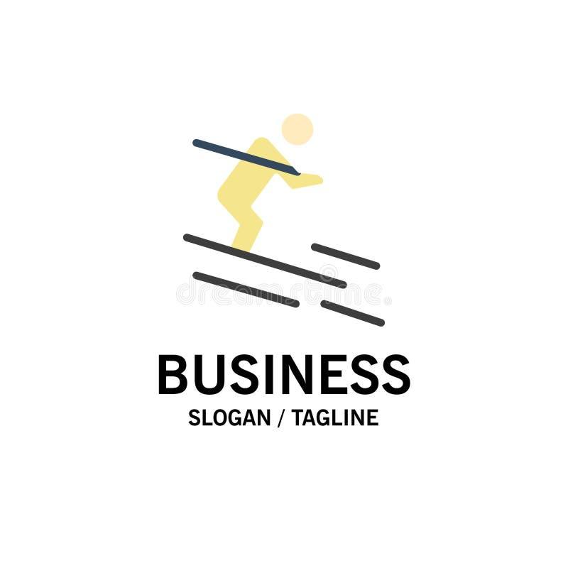 Attività, sci, corsa con gli sci, affare Logo Template dello sportivo colore piano illustrazione di stock
