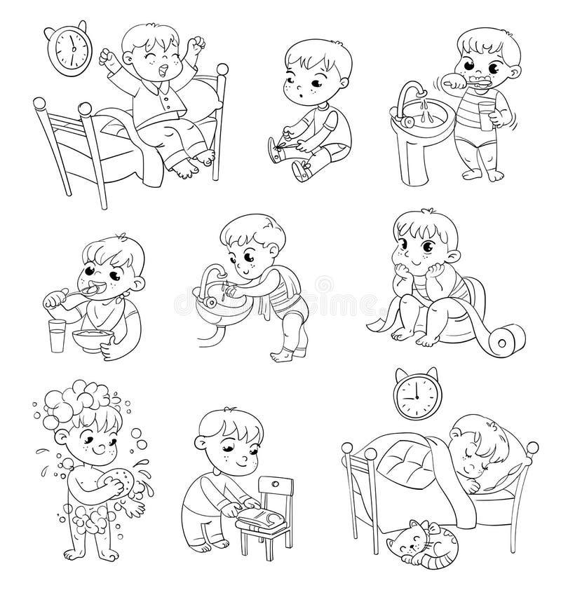 Attività sistematiche quotidiane del bambino del fumetto fissate illustrazione di stock
