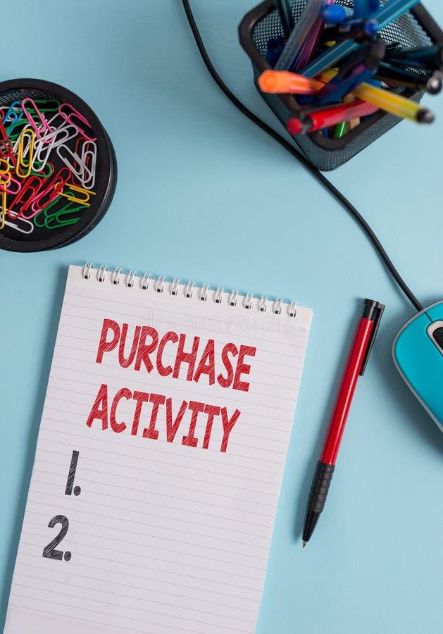 Attivit? dell'acquisto di rappresentazione della nota di scrittura Foto di affari che montra acquistando le merci per raggiungere immagini stock
