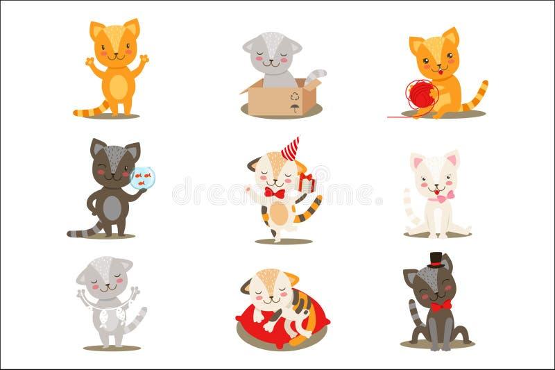 Attivit? differenti e situazioni dei piccoli personaggi dei cartoni animati svegli Girly dei gattini fissate delle illustrazioni  royalty illustrazione gratis