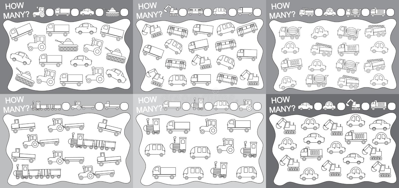 attivit? per i bambini Metta dei giochi educativi per i bambini 6 in 1: Quanti oggetti trasportano contato? Libro da colorare Vet illustrazione di stock