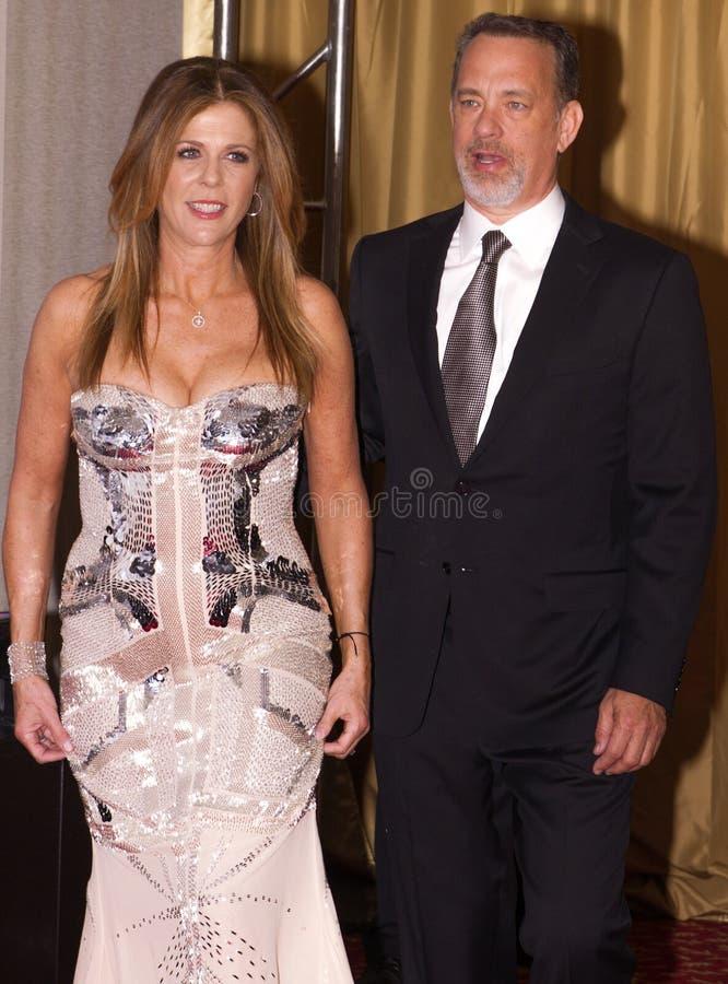 Attore americano Tom Hanks e la sua moglie Rita Wilson immagine stock