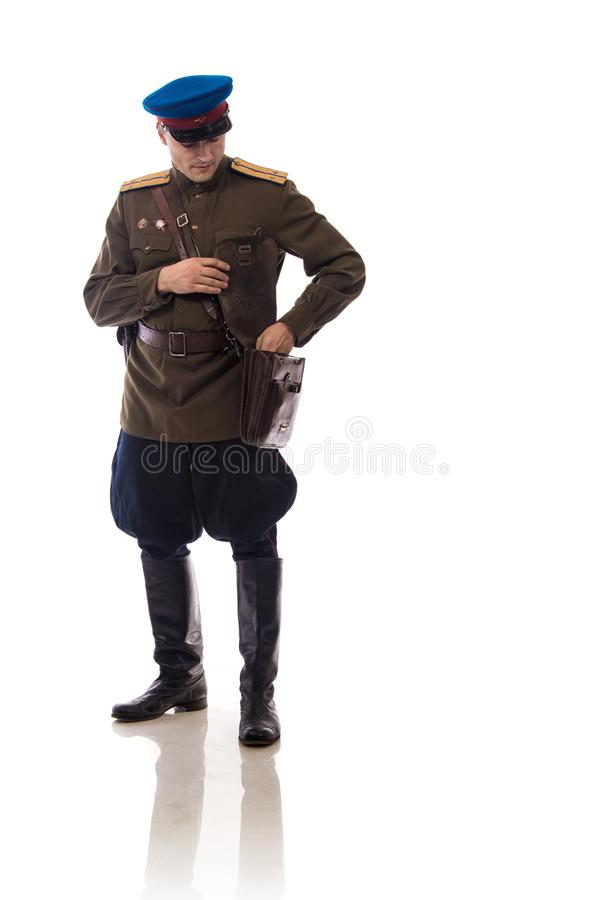 Attore dell'uomo sotto forma di commissariato del ` s di capitano People dell'ufficiale degli affari interni della Russia a parti fotografia stock libera da diritti