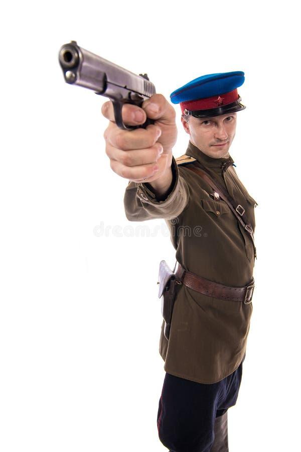 Attore dell'uomo sotto forma di commissariato del ` s di capitano People dell'ufficiale degli affari interni della Russia a parti fotografia stock