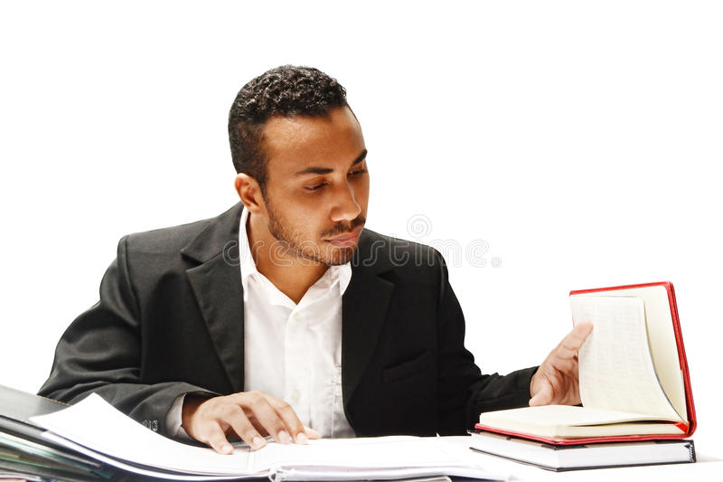 Attorney. Defendant attorney going through cases documents royalty free stock photography