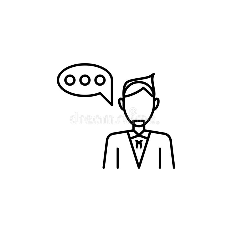 Attorney icon. Element of legal services thin line icon. On white background vector illustration