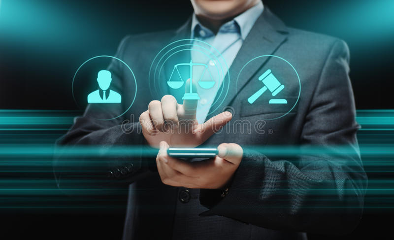 Attorney at Law Legal Lawyer Business Concept. Businessman pressing button. Attorney at Law Legal Lawyer Business Concept
