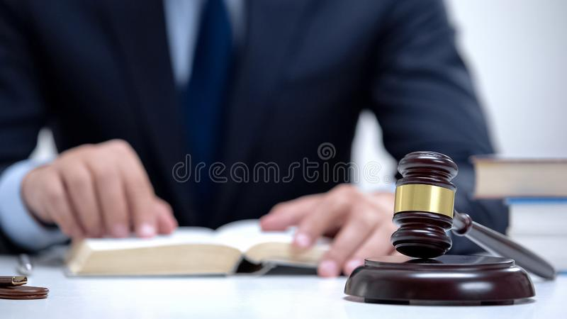 Attorney reading law code, studying constitution to protect human rights closeup royalty free stock image