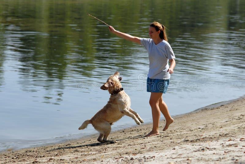attracive狗女性她的年轻人 免版税库存图片