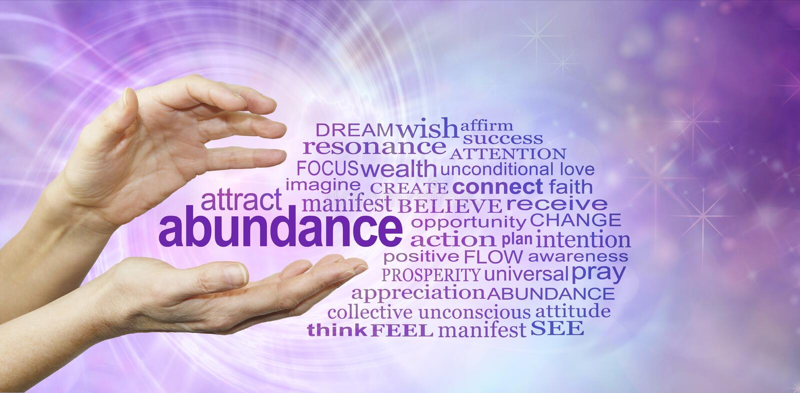Attract Abundance Word Cloud. Female hands with the word ABUNDANCE floating between surrounded by a relevant word cloud on a purple pink spiralling vortex energy stock image