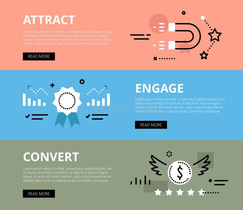 attract engage convert Geplaatste de banners van het Web royalty-vrije illustratie