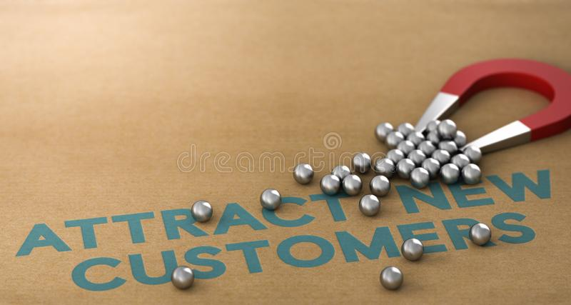 Attract New Customers Concept stock illustration