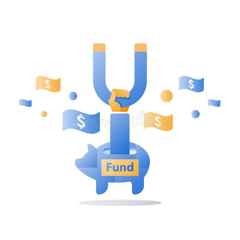 Attracting money, fund raising campaign, hand holding magnet, cash flow, new business investment, income growth, revenue increase stock illustration