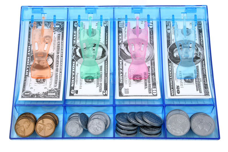 Attraction d'argent comptant du papier et de l'argent USD de jouet de pièce de monnaie images libres de droits