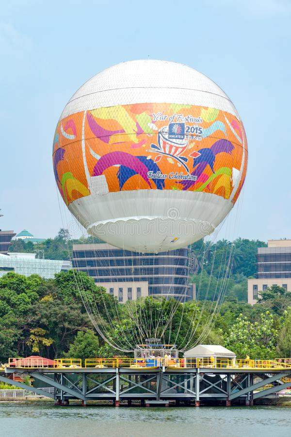 Attraction flight in a hot air balloon over the city from Skyrides Festivals Park Putrajaya stock images