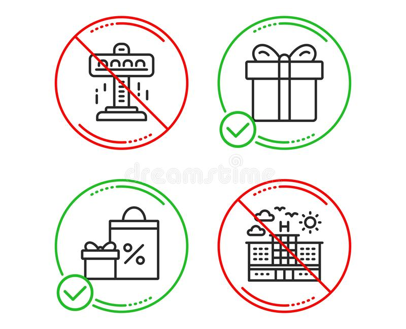 Attraction, Gift box and Shopping icons set. Hotel sign. Free fall, Present package, Gifts and sales. Travel. Vector. Do or Stop. Attraction, Gift box and vector illustration