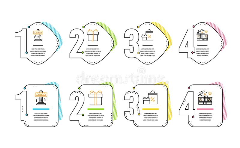 Attraction, Gift box and Shopping icons set. Hotel sign. Free fall, Present package, Gifts and sales. Travel. Vector. Attraction, Gift box and Shopping icons vector illustration