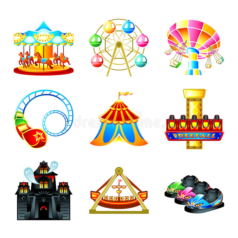 Attraction icons. Colorful theme park attraction icons isolated vector illustration