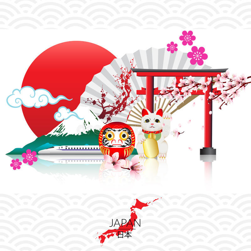 Attraction of Japan vector illustration