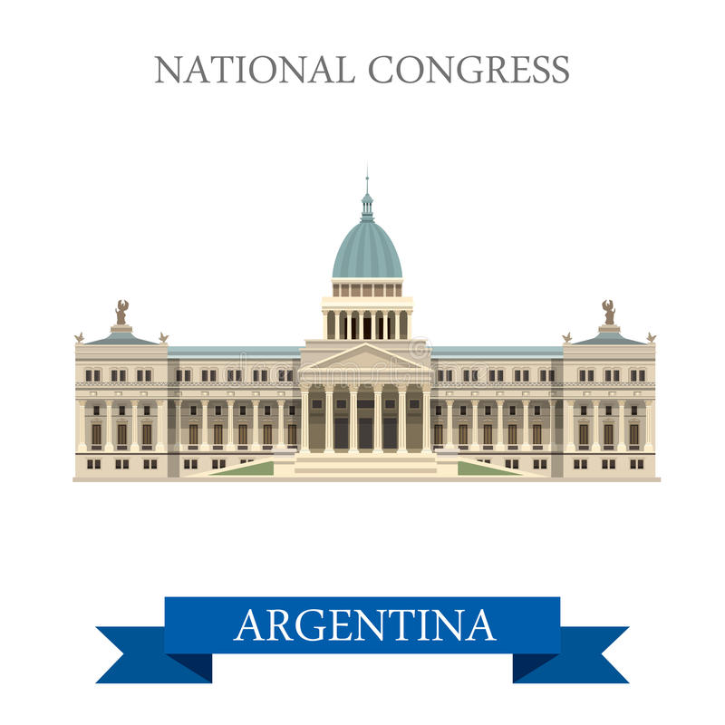 Attraction plate de vecteur de Buenos Aires Argentine du congrès national illustration de vecteur