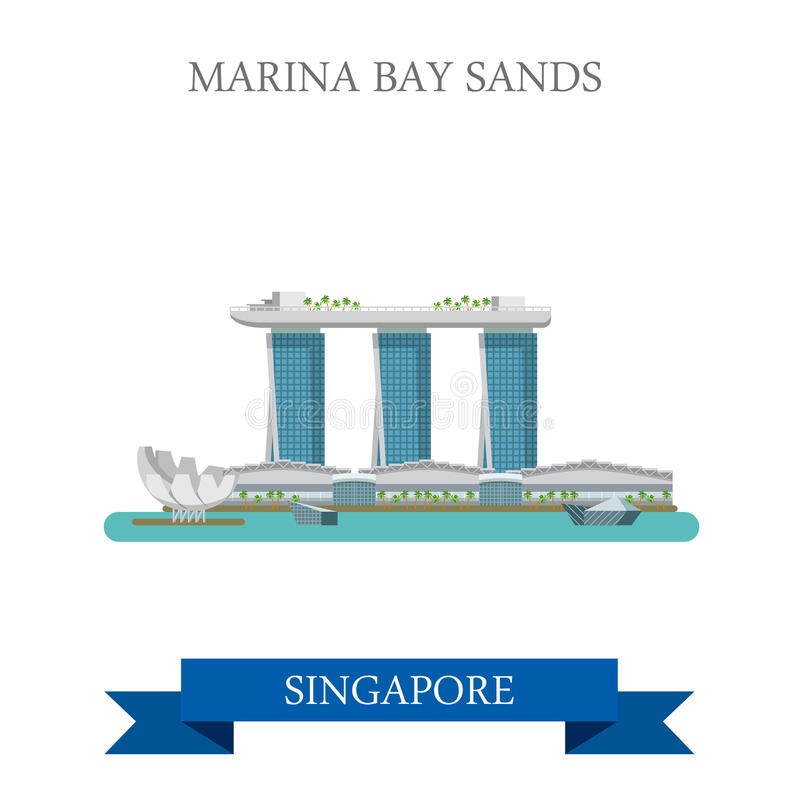 Attraction plate de vecteur de Marina Bay Sands Singapore visitant le pays illustration de vecteur