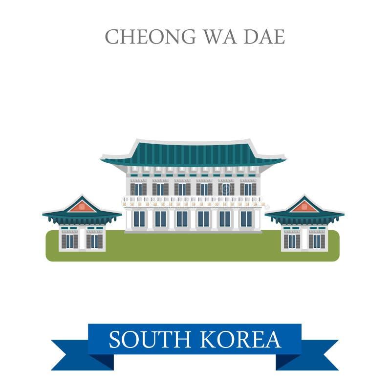 Attraction plate de vecteur de points de repère de Cheong Wa Dae South Korea illustration stock
