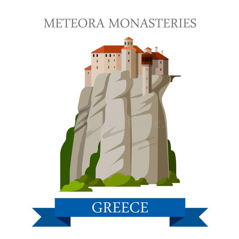 Attraction plate orthodoxe grecque de vecteur de la Grèce de monastères de Meteora illustration stock