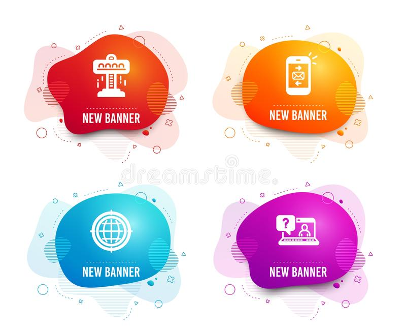 Attraction, Seo internet and Mail icons. Faq sign. Free fall, Globe, Smartphone communication. Web support. Vector. Liquid badges. Set of Attraction, Seo stock illustration