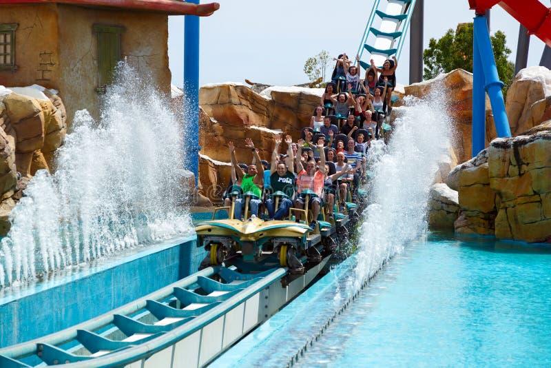 Attraction Shambhala in the theme park Port Aventura in city Salou, Catalonia, Spain. stock photos