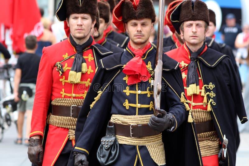 Attraction touristique de Zagreb/marche régiment de foulard images stock