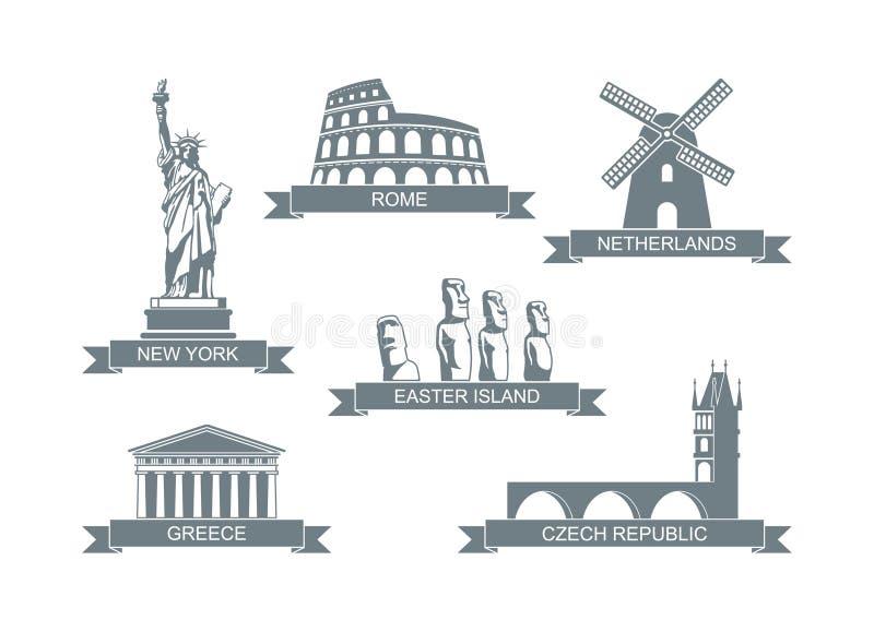 Attractions architecturales du monde Icônes plates stylisées la statue de la liberté, le Colosseum, le parthenon et autre illustration stock