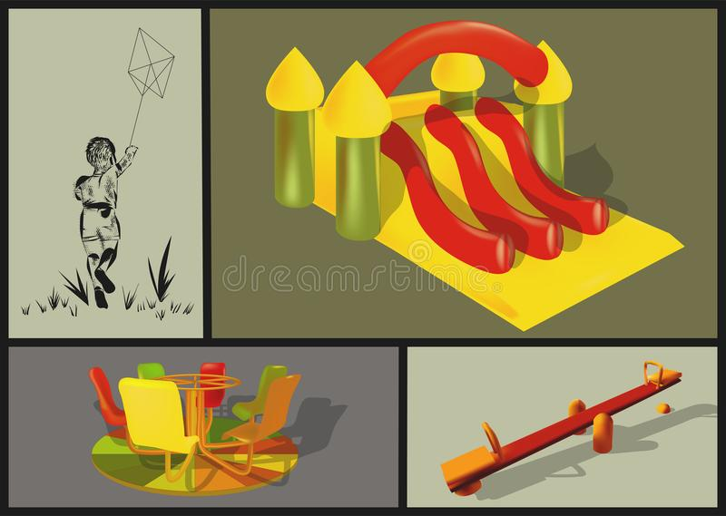 Attractions in the childrens park. Swings and carousels stock illustration