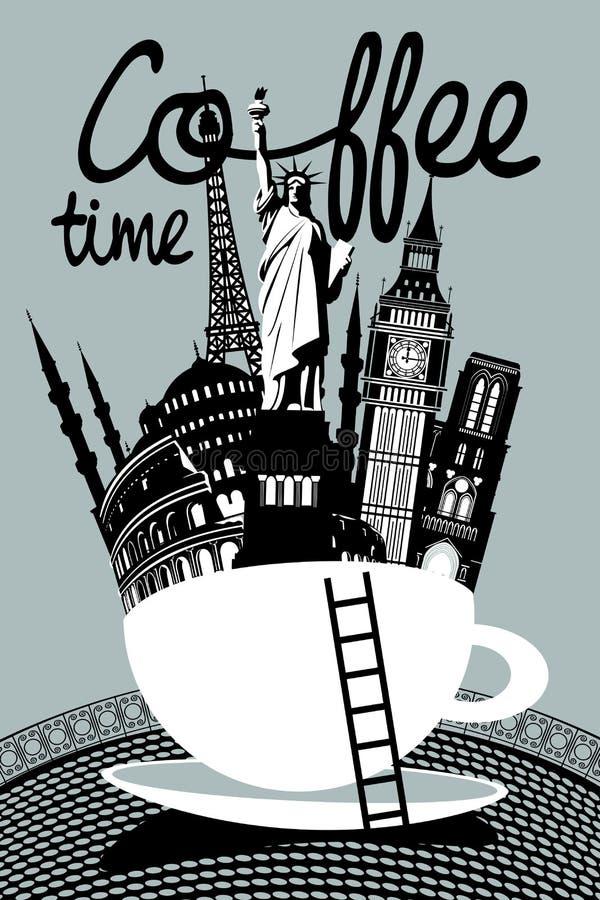 Attractions de différents pays dans une tasse de café illustration de vecteur