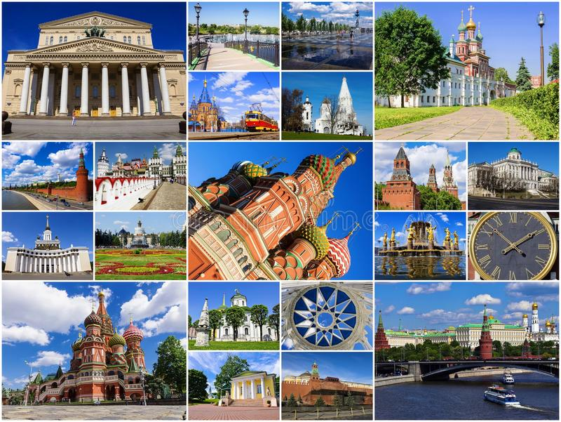 Attractions de Moscou, Russie (collage) image libre de droits