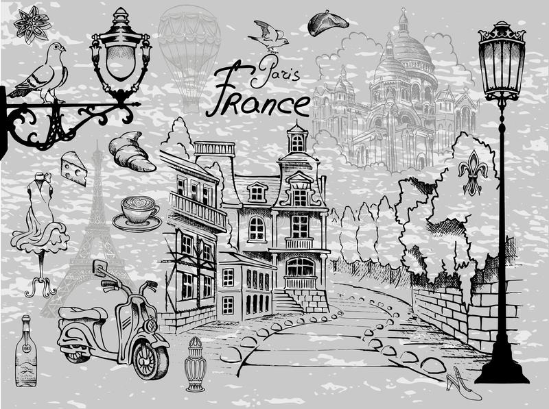 Attractions and details of the exquisite charm of Paris. Parisian views stock illustration