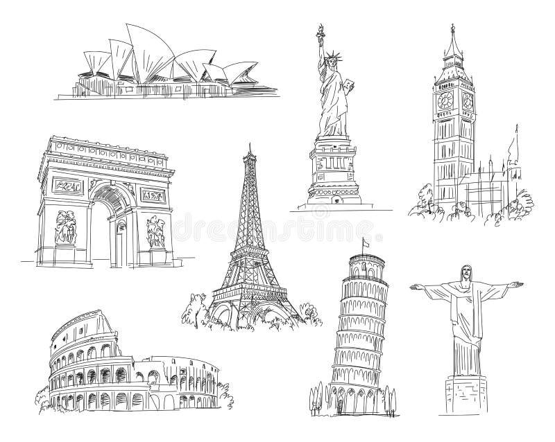 Attractions du monde illustration libre de droits