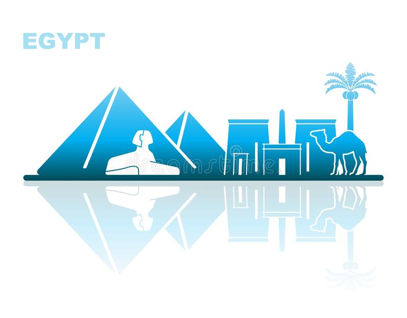 Attractions Egypt. Abstract landscape stock illustration