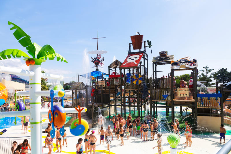 Attractions at Illa Fantasia Barcelona's Water Park stock photography