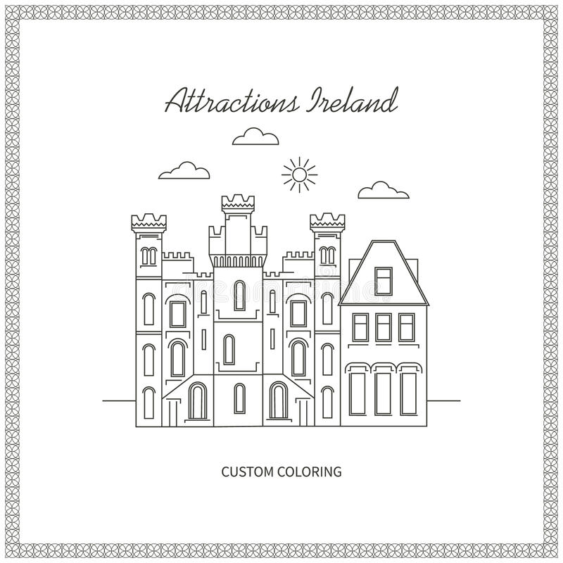 Attractions Ireland Pictures. Attractions Ireland. City. Architecture. The flat trend line illustration. Ideal for custom coloring book stock illustration