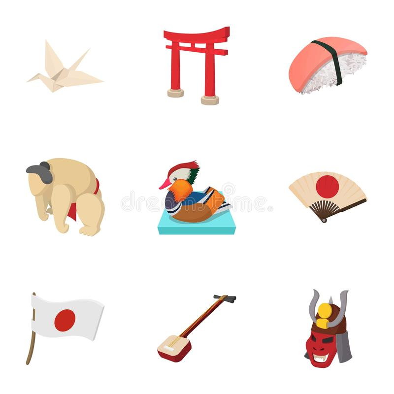 Attractions of Japan icons set, cartoon style royalty free illustration