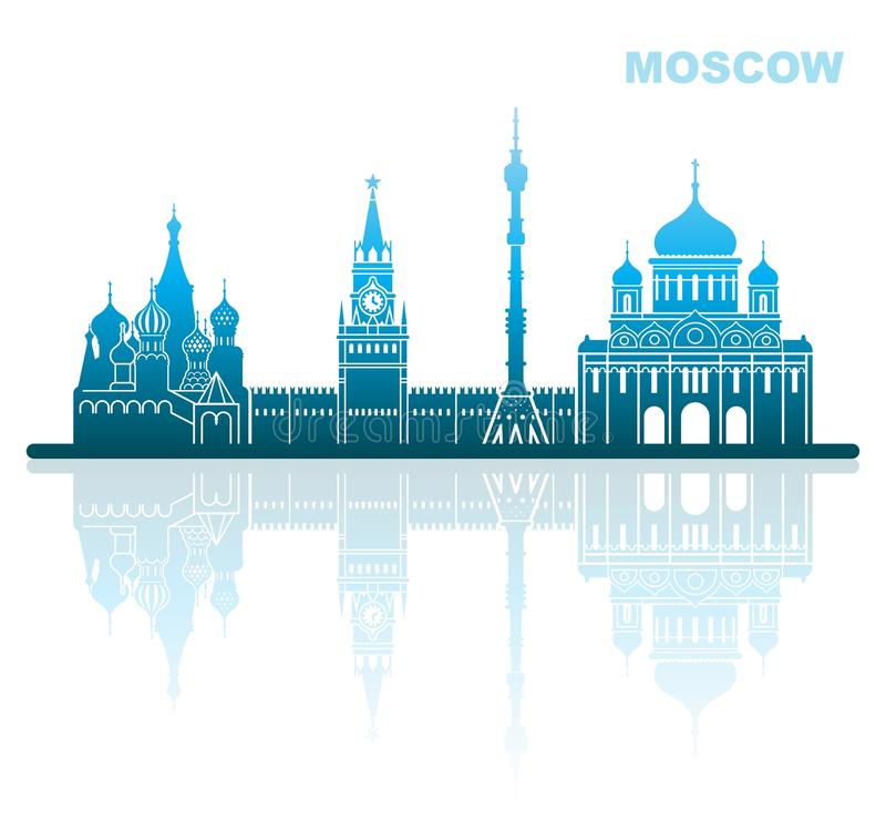 Attractions Moscow. Abstract landscape vector illustration