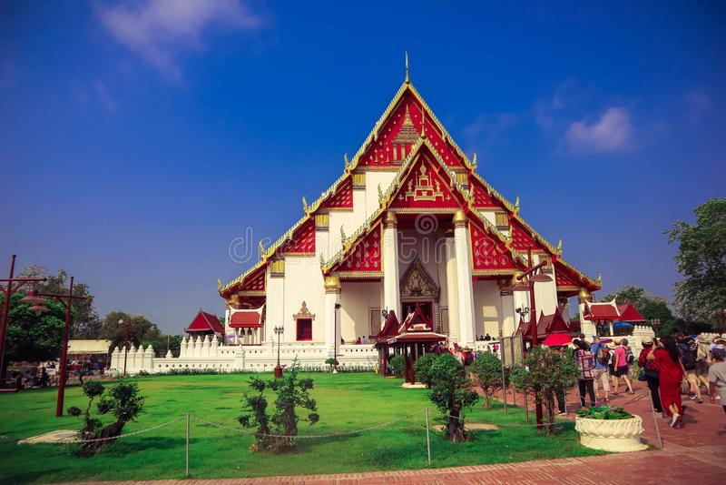Attractions touristiques de la vieille ville dans le cinquième règne beau de la Thaïlande pendant Ayutthaya image stock