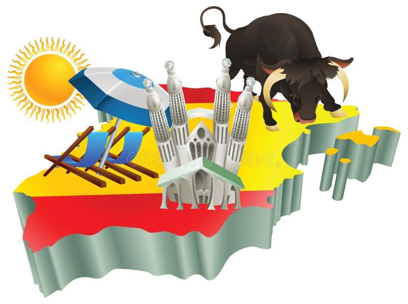 Attractions touristiques espagnoles d'illustration en Espagne illustration libre de droits