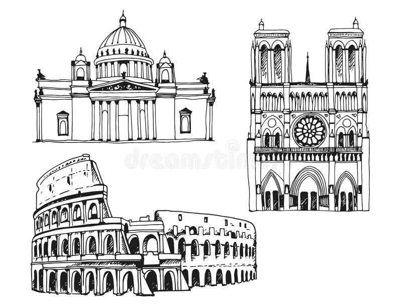 Landmarks of the world, vector illustration isolated on white background royalty free illustration